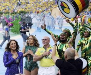 From left, Brazilian singer Claudia Leitte